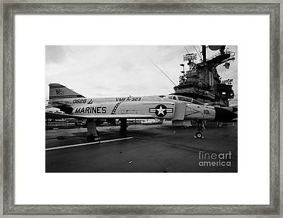 Mcdonnell F4 F-4n Phantom On Display On The Flight Deck At The Intrepid Sea Air Space Museum Framed Print