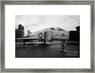 Mcdonnell F4n F4 Phantom On Display On The Flight Deck At The Intrepid Sea Air Space Museum Framed Print