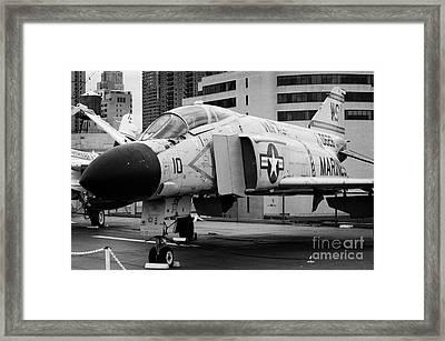 Mcdonnell F4n Phantom On The Flight Deck Uss Intrepid F4 Framed Print