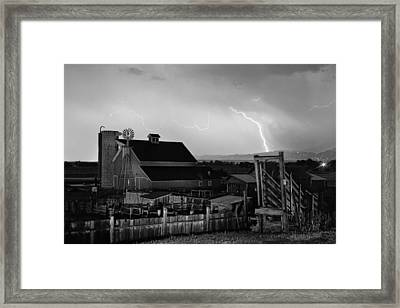 Mcintosh Farm Lightning Thunderstorm Black And White Framed Print