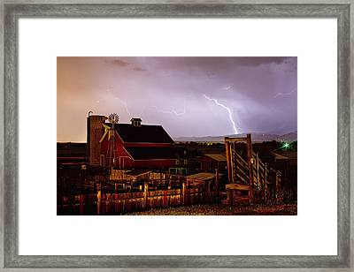 Mcintosh Farm Lightning Thunderstorm Framed Print by James BO  Insogna