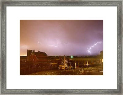 Mcintosh Farm Lightning Thunderstorm View Framed Print