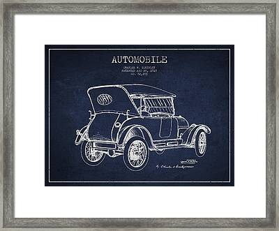 Mckinley Automobile Patent Drawing From 1918 - Navy Blue Framed Print