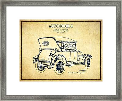 Mckinley Automobile Patent Drawing From 1918 - Vintage Framed Print by Aged Pixel