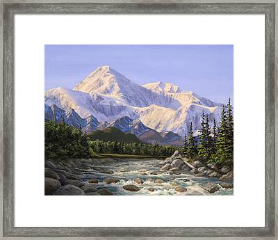 Majestic Denali Mountain Landscape - Alaska Painting - Mountains And River - Wilderness Decor Framed Print