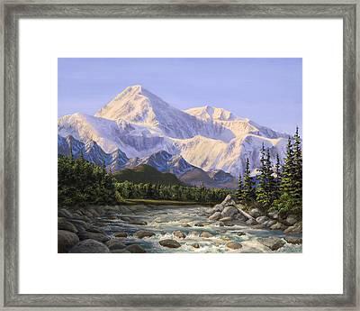 Majestic Denali Alaskan Painting Of Denali Framed Print by Karen Whitworth