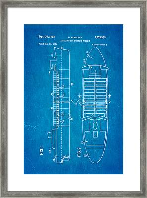Mclean Shipping Container Patent Art 1958 Blueprint Framed Print by Ian Monk