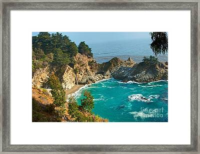 Mcway Falls Along The Big Sur Coast. Framed Print by Jamie Pham