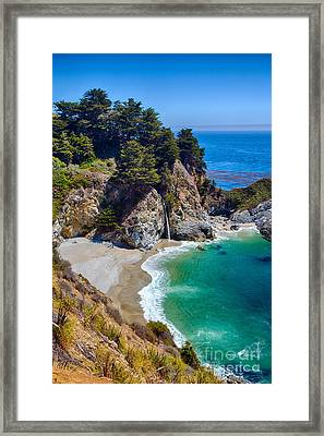 Mcway Falls At Julia Pfeiffer Burns State Park Framed Print