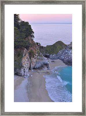 Mcway Falls At Dawn - Big Sur Framed Print by Stephen  Vecchiotti