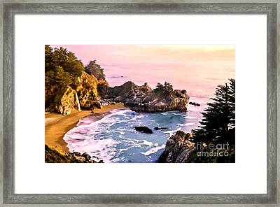 Mcway Falls Pacific Coast Framed Print by Bob and Nadine Johnston