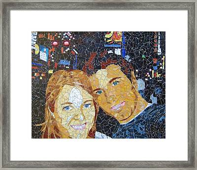 Me And Santi In Times Square Framed Print by Rachel Van der pol