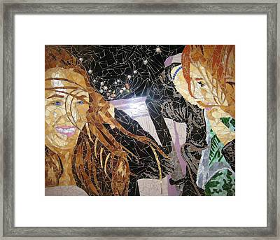 Me And Sarah Riding In The Back Of Lieske's Beemer Framed Print by Rachel Van der pol