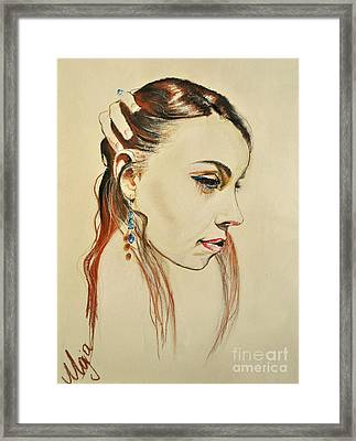 Framed Print featuring the drawing Me by Maja Sokolowska