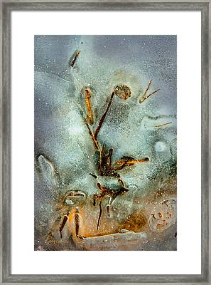 Framed Print featuring the photograph Meade Ice Abstract by Tom Cameron