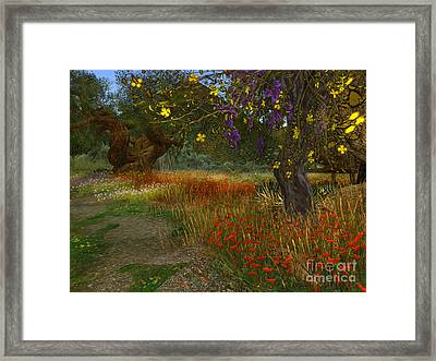 Meadow And Trees Framed Print