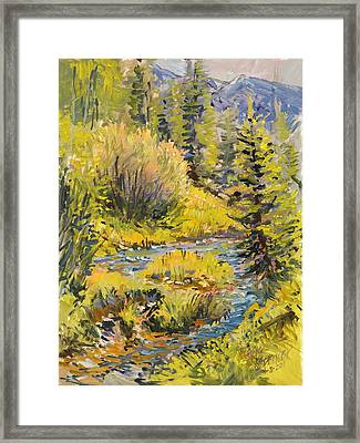 Framed Print featuring the painting Meadow Creek Montana by Steve Spencer