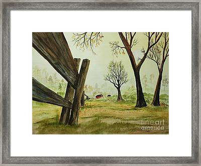 Meadow Fence Framed Print by Jack G  Brauer