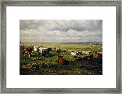 Meadow Landscape With Cattle, C. 1880, By Willem Roelofs 1822-1897 Framed Print