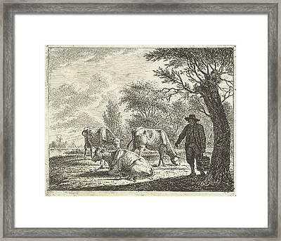 Meadow Landscape With Man Bucket With Three Cows Framed Print by Artokoloro