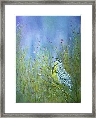 Meadowlark Framed Print by Xochi Hughes Madera