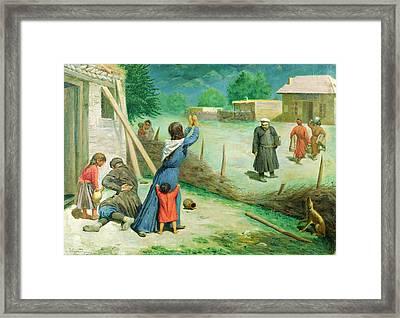 Mean Collection, 1891 Oil On Canvas Framed Print by A. Mrevlishvili
