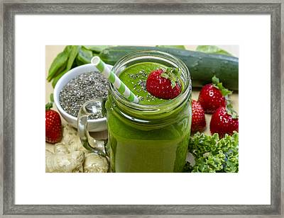Mean Green Raw Food Smoothie Framed Print by Teri Virbickis