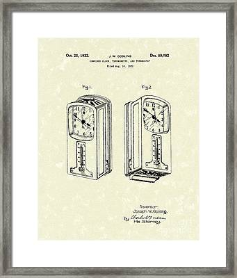 Measuring Device 1932 Patent Art Framed Print by Prior Art Design