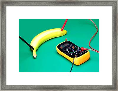 Measuring Resistance Of A Banana Food Physics Framed Print by Paul Ge