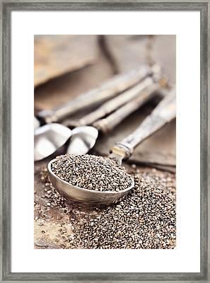 Measuring Spoon Of Chia Seeds Framed Print by Stephanie Frey