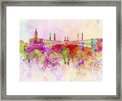 Mecca Skyline In Watercolor Background Framed Print by Pablo Romero