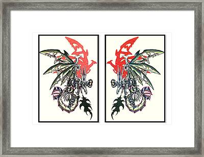 Mech Dragons Collide Framed Print