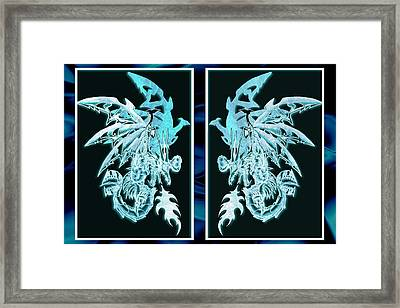Mech Dragons Diamond Ice Crystals Framed Print