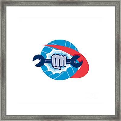 Mechanic Hand Holding Spanner Punching  Framed Print