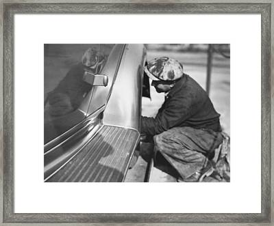 Mechanic Working On Car Framed Print by Underwood Archives