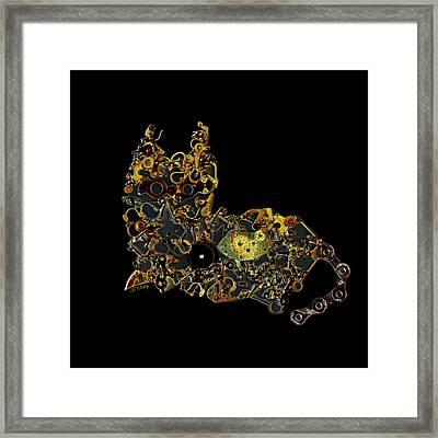 Mechanical - Cat Framed Print by Fran Riley