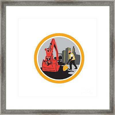 Mechanical Digger Construction Worker Circle Framed Print