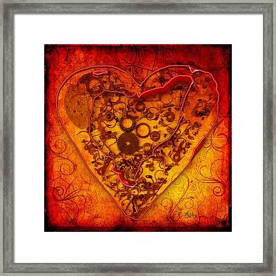 Mechanical - Heart Framed Print by Fran Riley