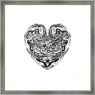 Mechanical Heart With Brain Framed Print by Diuno Ashlee