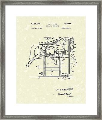 Mechanical Horse 1960 Patent Art Framed Print by Prior Art Design