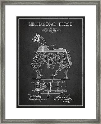 Mechanical Horse Patent Drawing From 1893 - Dark Framed Print by Aged Pixel