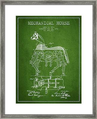 Mechanical Horse Patent Drawing From 1893 - Green Framed Print