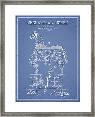 Mechanical Horse Patent Drawing From 1893 - Light Blue Framed Print