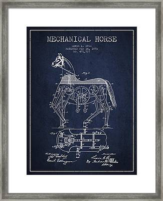 Mechanical Horse Patent Drawing From 1893 - Navy Blue Framed Print