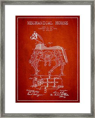 Mechanical Horse Patent Drawing From 1893 - Red Framed Print by Aged Pixel