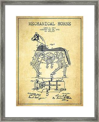 Mechanical Horse Patent Drawing From 1893 - Vintage Framed Print by Aged Pixel