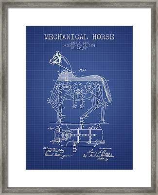 Mechanical Horse Patent From 1893- Blueprint Framed Print by Aged Pixel