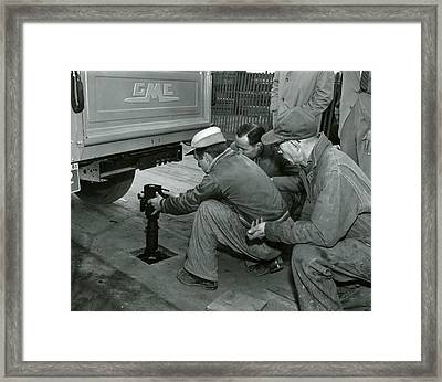 Mechanics Working On Vintage Truck Framed Print