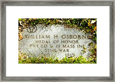 Medal Of Honor   Framed Print by Bob and Nadine Johnston