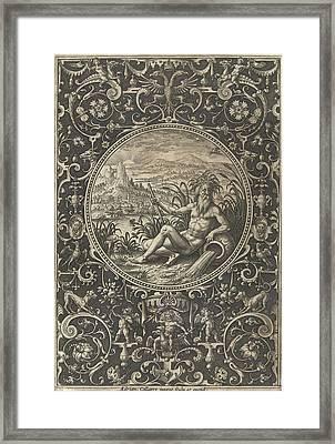 Medallion Which A Stroomgod, Adriaen Collaert Framed Print